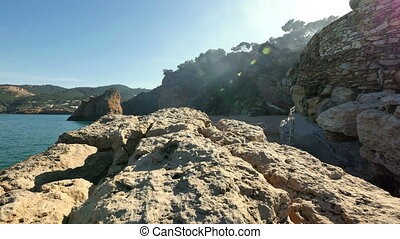 Virgin Mediterranean Beach Steady Cam Flying Over the Cliff...