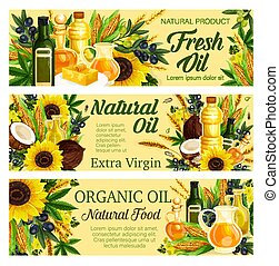 Natural oil plants of olive and hemp, sunflower and corn, palm and coconut. Vector healthy organic food, butter or margarine on plate. Bottles or jugs of liquid, seasoning and cooking, salad liquid dressing