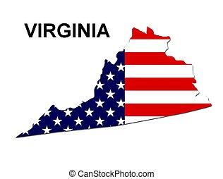 virgina, estados unidos de américa, rayas, estado, diseño,...