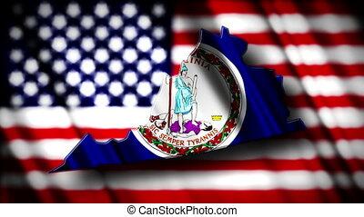 Virginia 03 - Flag of Virginia in the shape of Virginia...