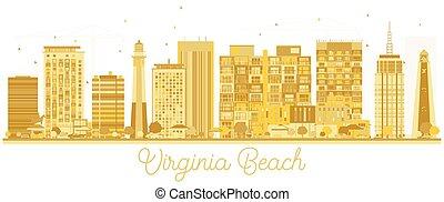 Virginia Beach City skyline golden silhouette.