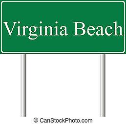 Virginia beach green road sign