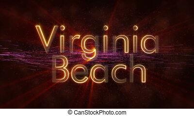 Virginia Beach - Shiny looping city name text animation -...