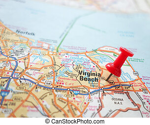 Virginia Beach - Closeup of a map of Virginia Beach,...
