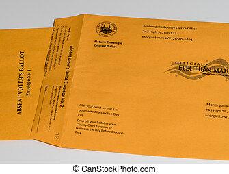 virginia, cheque, votación, lista, papeleta, elección, oeste...