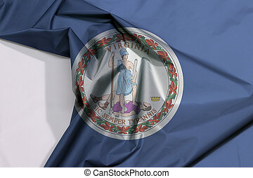 Virginia fabric flag crepe and crease with white space. Obverse of the Seal of Virginia on an azure field.