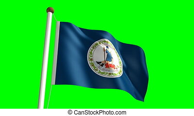 Virginia flag (with green screen) - 3D Virginia flag video...