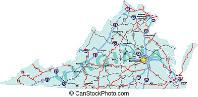 Virginia Interstate Map - Virginia state road map with ...