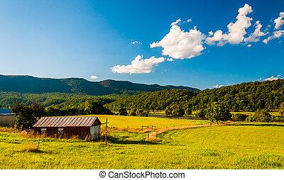 virginia., istálló, shenandoah, folyó völgy, kilátás