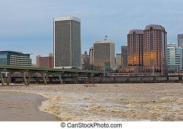 virginia., james river, inundación, richmond
