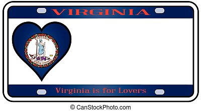 Virginia License Plate - Virginia license plate in the...