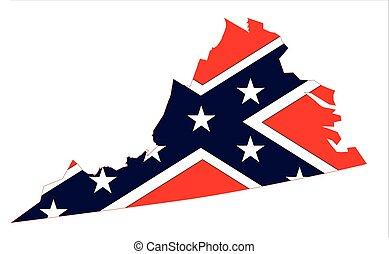 Virginia Map And Confederate Flag
