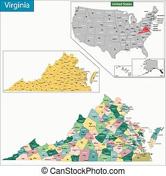 Virginia map - Map of Virginia state designed in...