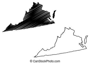 Virginia map vector