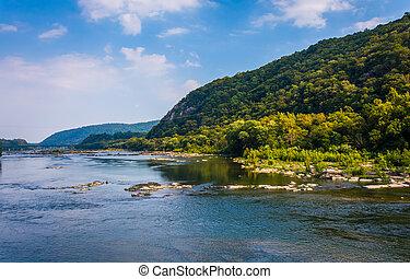 virginia., nyugat, folyó, potomac, harper's komp, kilátás
