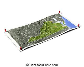 Virginia on unfolded map sheet.