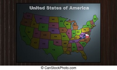 Virginia pull out from USA states abbreviations map - State...