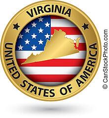 virginia, staat, goud, etiket, met, staatskaart, vector, illustratie