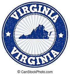 Grunge rubber stamp with the name and map of Virginia , vector illustration