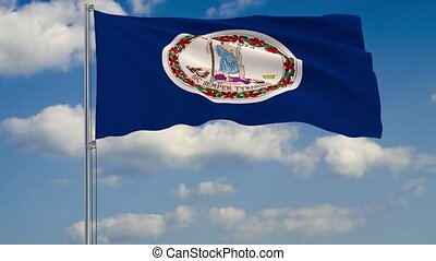 Virginia State flag in wind against cloudy sky