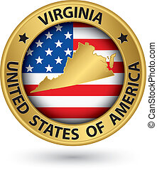 Virginia state gold label with state map, vector ...