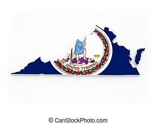 virginia., térkép, usa., háromkiterjedésű