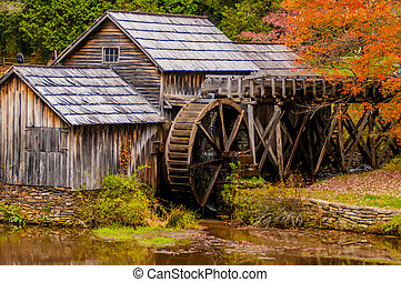 Virginia's Mabry Mill on the Blue Ridge Parkway in the...