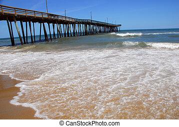 virginie, mer, plage, jetée
