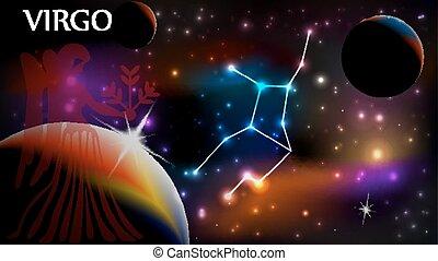 virgo, cópia, sinal, astrológico, espaço