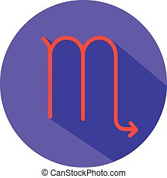 Virgo. Classic Astrological Zodiac Sign. Vector icon in Flat Style with Long Shadow