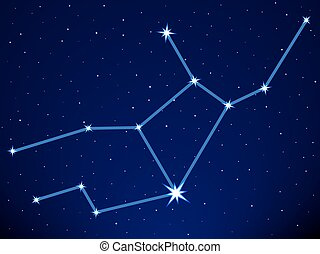 Virgo constellation on the starry sky