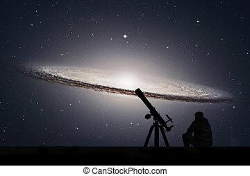 virgo., galaxie, télescope, nasa., ceci, m104, sombrero, image, stars., éléments, homme, regarder, constellation, meublé