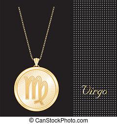 Virgo Gold Pendant Necklace - Gold engraved horoscope...