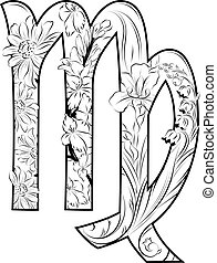 Virgo horoscope sign decorated with flowers inside