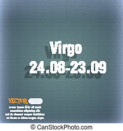 Virgo icon. On the blue-green abstract background with shadow and space for your text. Vector