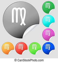 Virgo icon sign. Set of eight multi colored round buttons, stickers. Vector
