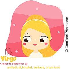 Virgo. Kids zodiac. Children horoscope sign. Astrological symbols in cartoon style