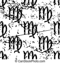 Virgo pattern, grunge, monochrome