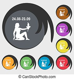 Virgo sign icon. Symbols on eight colored buttons. Vector