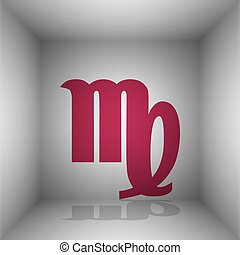 Virgo sign illustration. Bordo icon with shadow in the room.