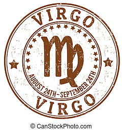 Virgo zodiac grunge stamp - Virgo zodiac astrology grunge...