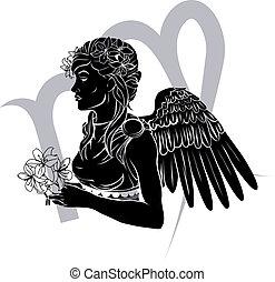 Illustration of Virgo the virgin zodiac horoscope astrology sign