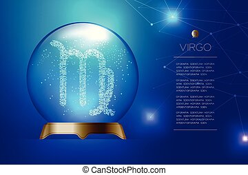 Virgo Zodiac sign in Magic glass ball, Fortune teller concept design illustration on blue gradient background with copy space, vector eps 10