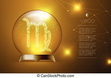 Virgo Zodiac sign in Magic glass ball, Fortune teller concept design illustration on gold gradient background with copy space, vector eps 10