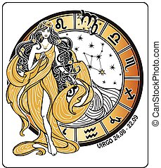 Virgo zodiac sign on Horoscope circle.Vector