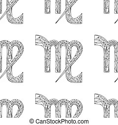 Virgo zodiac sign. Vector hand drawn horoscope pattern. Astrological seamless background.