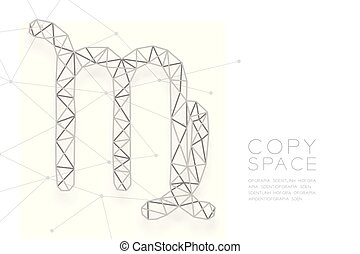 Virgo Zodiac sign wireframe Polygon silver frame structure, Fortune teller concept design illustration isolated on white background with copy space, vector eps 10