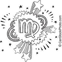 Virgo zodiac sketch - Doodle style zodiac astrology symbol...