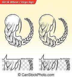 Virgo Zodiac Star Sign Sketch - Vector Illustration of Virgo...