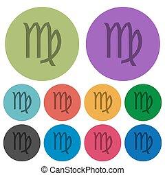 virgo zodiac symbol color darker flat icons